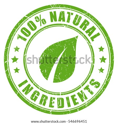 Natural ingredients rubber vector stamp. Green natural stamp imprint.