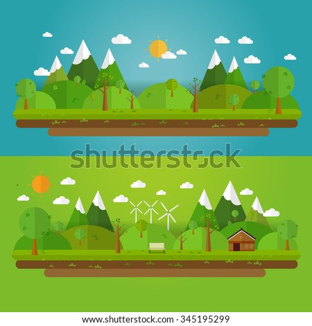 Natural landscape in the flat style. a beautiful park.Environmentally friendly natural landscape.Vector illustration - stock vector