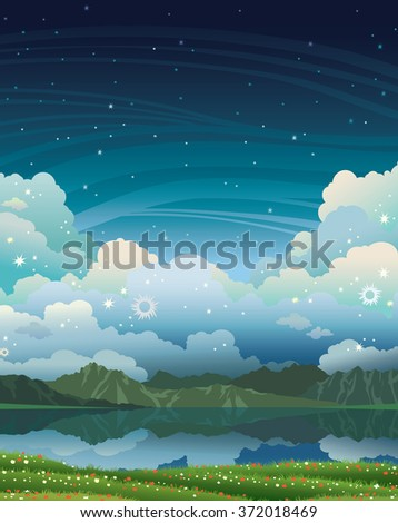 Natural landscape with calm lake, green grass and mountains on a night starry sky. Summer vector illustration.