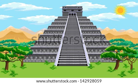 Natural landscape with the ancient aztec pyramid. Vector. - stock vector