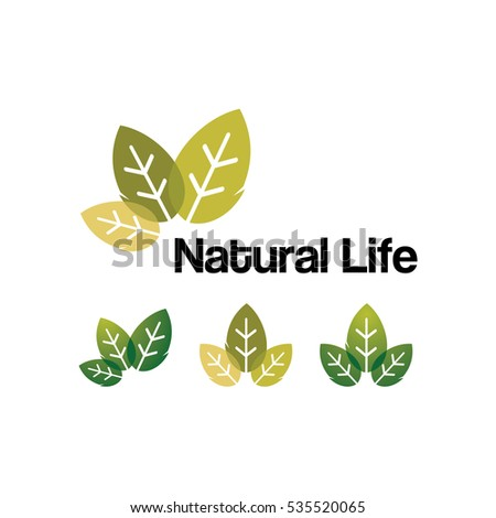 Natural Life Green Leaf Logo Symbol Illustration