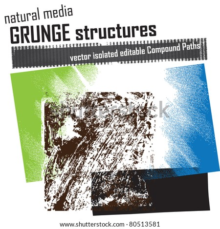 natural media grunge structures & elements - stock vector