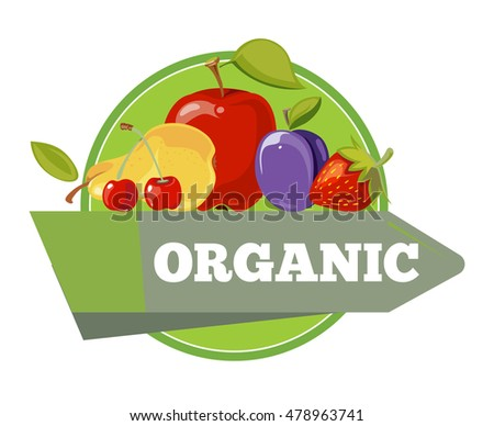 Natural organic fruits with green leaves logo, label, badge template. Vector illustration