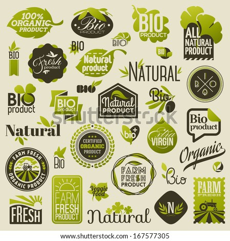 Natural organic product labels, emblems and badges. Set of design elements - stock vector