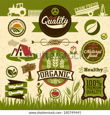 Natural organic product labels, emblems, logo and badges. Set of Fresh Organic design elements and natural food illustration and Eco web icon. Easy editable for your design. - stock vector