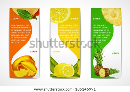 Natural organic tropical fruits vertical banners set of mango lemon pineapple design template vector illustration - stock vector