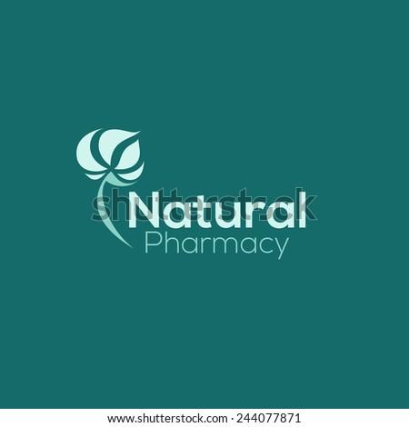 Natural pharmacy logo design vector template. Green herb icon - stock vector