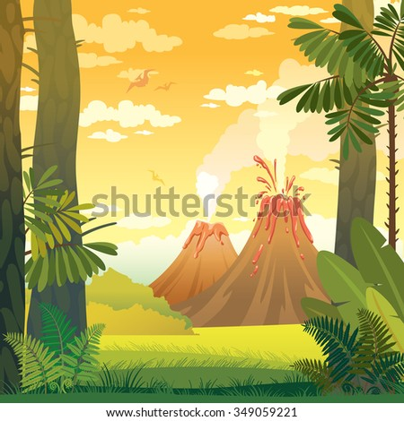 Natural prehistoric vector illustration. Wild landscape with volcano, trees and fern. - stock vector