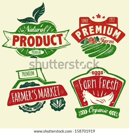 Natural product badges - stock vector
