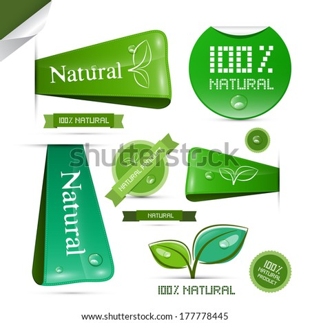 Natural Product Green Labels - Tags - Stickers Set - stock vector