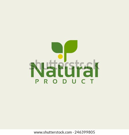 Natural product  logo design vector template. Icon of green branch - stock vector