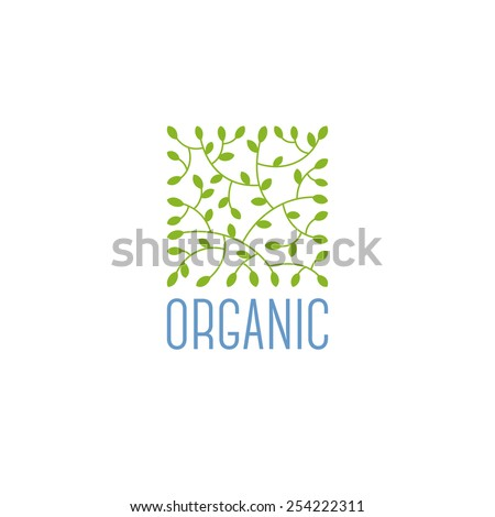 Natural product logo design vector template with leaves - stock vector