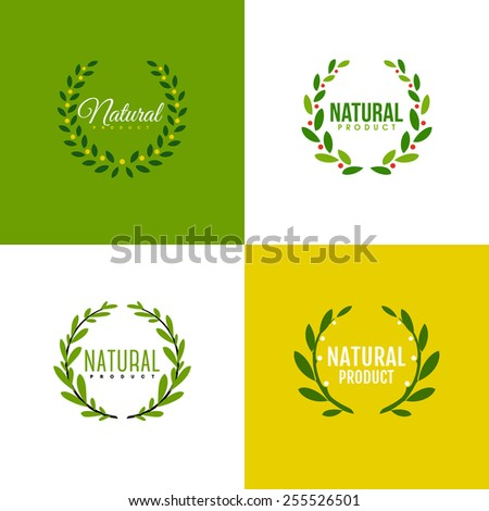 Natural product logo design vector template. Wreath of branches with leaves  - stock vector