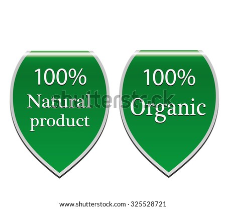 Natural product organic stickers set - stock vector