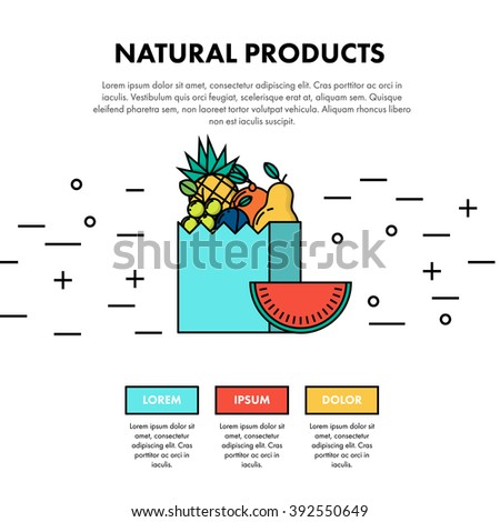 Natural Products Thin Flat Line One Page Web Design Template Layout. Infographic and web developing graphic resource. Promotion of healthy and fresh food. Vector Illustration