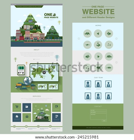 natural scenery one page website design template in flat style  - stock vector