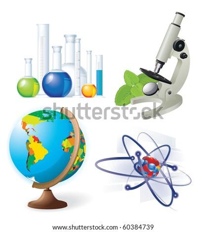Natural sciences vector icon set. - stock vector