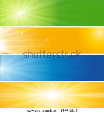 natural & seasonal concept banners, four seasons banner, background set - stock vector
