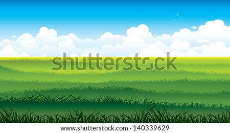 Natural summer landscape - field with green grass and group of white clouds on a blue sky background . - stock vector