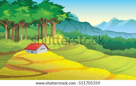 Natural summer vector illustration. Cartoon rural landscape with yellow field, green forest, mountains and house.