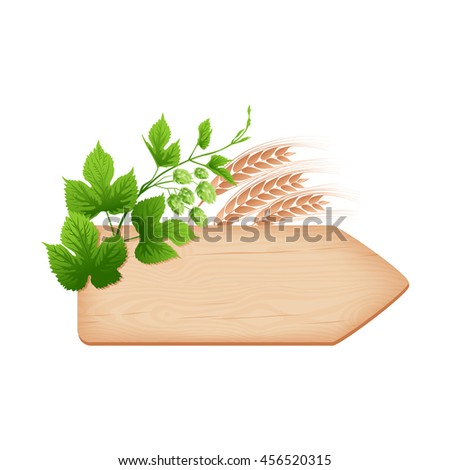 Natural textured wooden arrow signboard with knots and cracks pointing to beer pub, hop branch and barley ears vector illustration