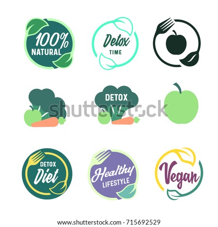 raw vegan detox organic labels logo stock vector 381125074 shutterstock. Black Bedroom Furniture Sets. Home Design Ideas