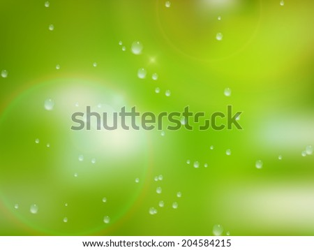 Natural water drops on glass with green background. plus EPS10 vector file - stock vector