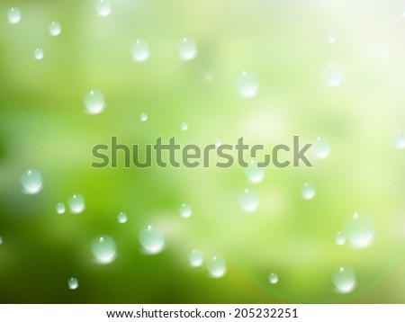 Natural water drops on glass with green background. plus EPS10 vector file