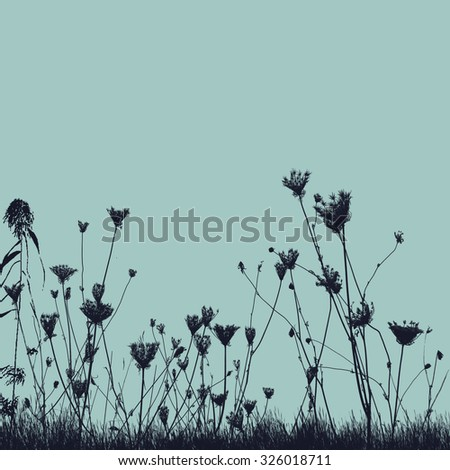 Natural wild plants on grass silhouette on blue background, vector illustration - stock vector