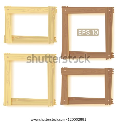 Natural wood frames set, picture - stock vector