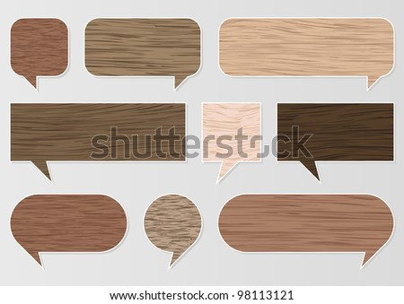 Natural wood texture speech bubbles and balloons illustration collection background vector