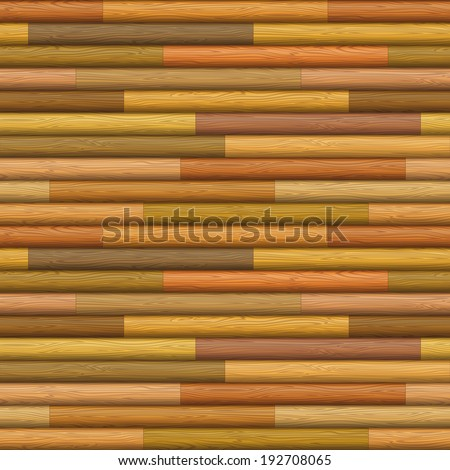 Natural wooden timbered wall texture from logs of different colors, seamless background. Vector - stock vector