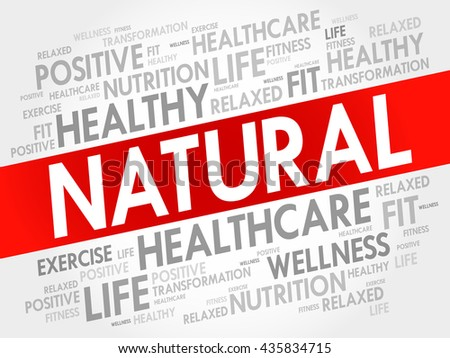 NATURAL word cloud background, health concept