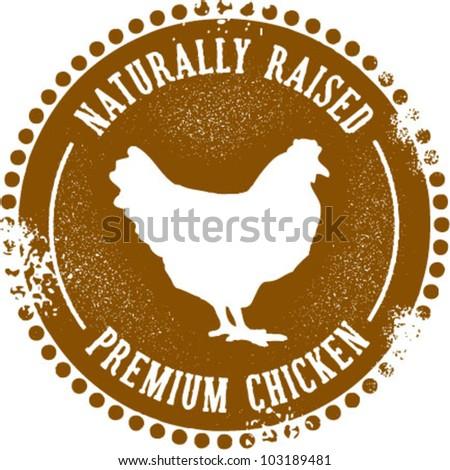 Naturally Raised Premium Chicken Stamp - stock vector