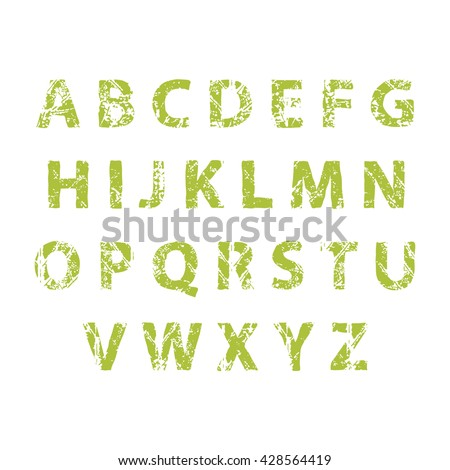 Nature alphabet ecology decorative green vector font Set ABC alphabet nature letters with leaves texture Floral ecological natural ecology alphabet Foliage capital vector letters. Vector illustration.