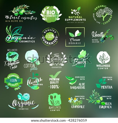 Nature and cosmetics labels and stickers collection - stock vector