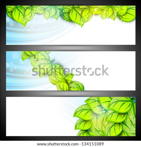Nature and Eco website header or banner set. - stock vector