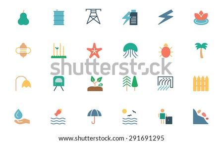 Nature and Ecology Colored Icons 5 - stock vector