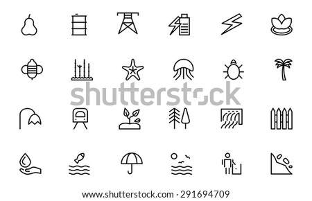 Nature and Ecology Line Vector Icons - stock vector