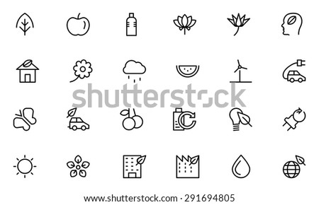 Nature and Ecology Line Vector Icons 1