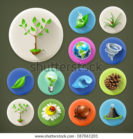 Nature and Ecology, long shadow icon set - stock vector