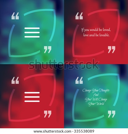 Nature and ecology template of square quote text bubble  in form of leaf. Motivation quote. Change Your Thoughts And You Will Change Your World. Vector - stock vector