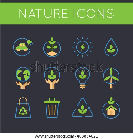 Nature and go green icons. EPS 10