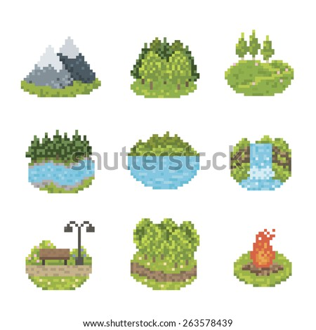 Nature And Parks Pixel Art Icon Set - stock vector