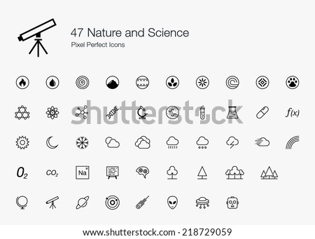 Nature and Science Pixel Perfect Icons (line style) - stock vector