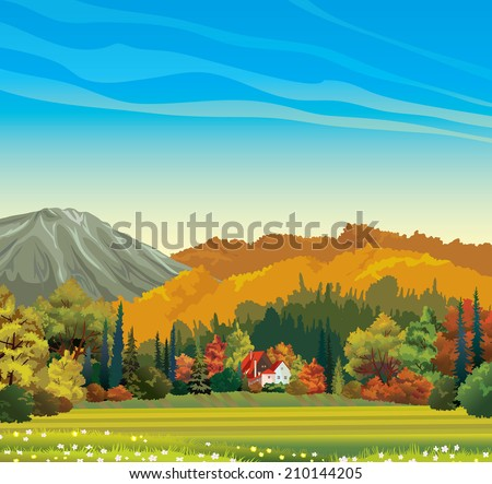 Nature autumn landscape - orange forest and house with red roof on a blue sky background.  - stock vector