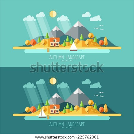 Nature - autumn landscape. Vector illustration in flat design style. - stock vector