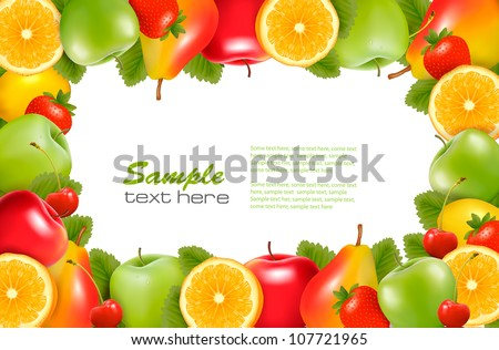 Nature background made of delicious ripe fruit. Vector. - stock vector