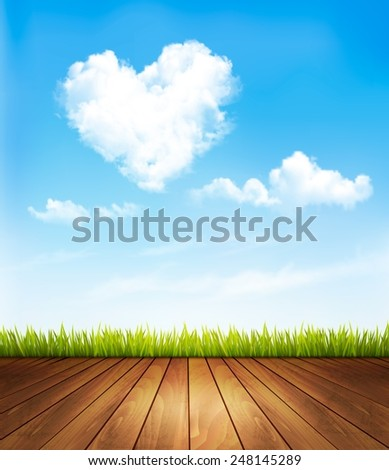Nature background with a blue sky and heart shaped cloud.Vector illustration - stock vector