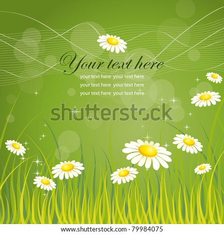 Nature background with grass and chamomile, vector illustration, eps-10